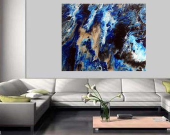"New Original Abstract Acrylic Fluid Painting ""Master Of The Seas"" 16"" X 20"""