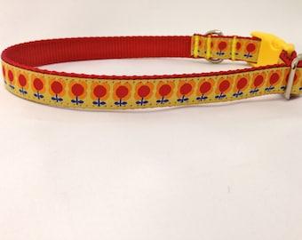 YELLOW RETRO FLOWERS Dog Collar/ Purple Dog Collar/ ribbon dog collar/ adjustable dog collar