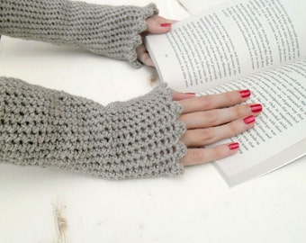 Crocheted arm warmers  brown taupe cuffs  fall winter accessories MADE TO ORDER
