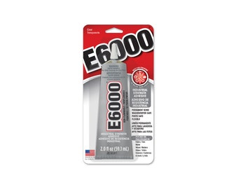 E6000 Craft Glue, 2 oz. Carded Tube of E6000 Glue, E-6000 Glue, Glue for Rhinestones, Craft projects, Industrial Projects.