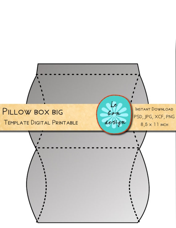 Pillow Box Template Printable Diy Folding Sheet Jpg Psd