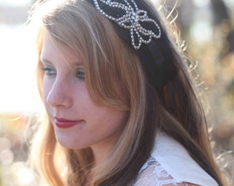 Claire--Black crinoline headband with black and silver sequin accent