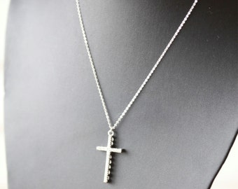 SILVER crystal Cross Necklace ,  Celebrity Necklace Taylor Jacobson Celebrity