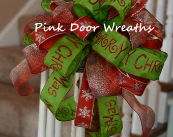 """13"""" CHRISTMAS TREE TOPPER bow decor red lime green silver staircase sparkle chevron Merry Christmas (others available)"""