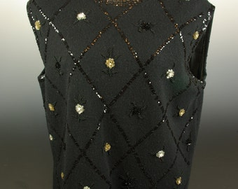Black Sleeveless Top Bead and Sequin Floral Diamond Pattern Angora Marchessa VLV Mad Men
