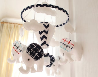Nautical Mobile - Nautical Nursery - Blue White Mobile - Nursery Mobile - Elephant Mobile -  Baby Shower Gift - MadeTo Order
