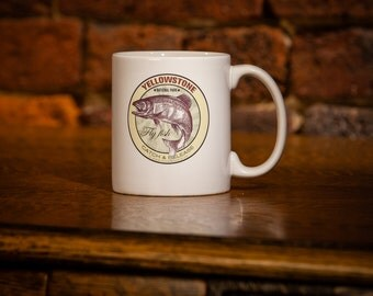 Yellowstone National Park Fly Fish Trout Mug Coffee Mug 11 oz white ceramic - Fly Fishing Gift -