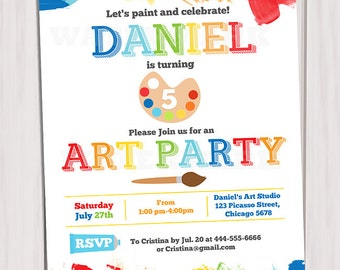Art Party Invitation Printable, Rainbow Paint Party Birthday Invite DIY, paint arts crafts boy or girl invitation