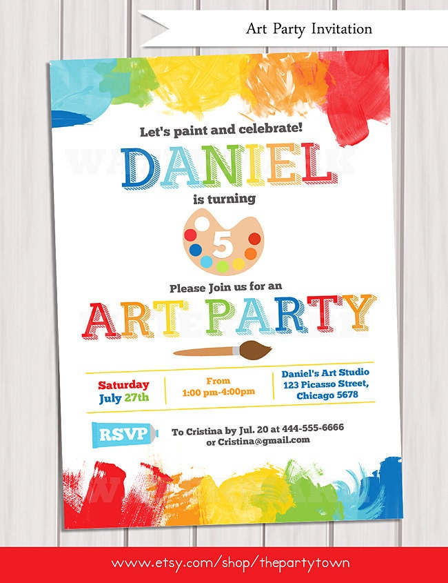 It is an image of Resource Free Printable Paint Party Invitations