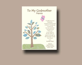 Godmother gift - Personalized gift for Godmother - Godparent Gift - Gift from Godchild - Godmother Baptism Keepsake - TREE