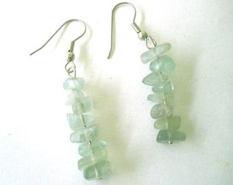 Stone Chip Earrings Green Fluorite