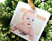 Ornament Personalized Photo Reclaimed Eco Friendly Wood Modern Tree Christmas Perfect gift grandparents baby's first christ