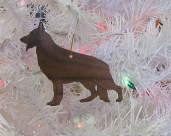 German Shepherd Ornament in Wood or Mirror Acrylic Customizable with Name