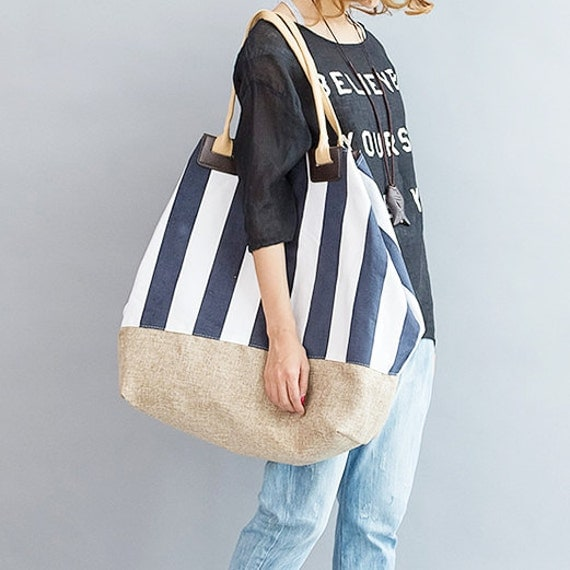 Fashion Oversize Navy Stripe Cotton bag Linen Bag Canvas bag women bag shoulder bag tote bag shopping bag Book bag Beach bag Everyday Bag