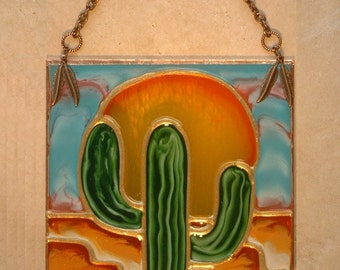 Stained Glass Cactus Ornament Desert Southwestern Southwest Ornament Theme Personalized Cactus Decor Suncatcher Glass Art Saguaro Decoration