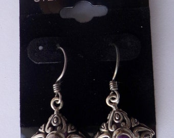 Heavy  Well made STUNNING Sterling Silver Amethyst Earrings
