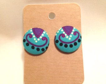 Colorful Paisley Fabric Covered Button Earrings