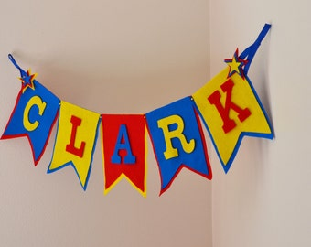 Uppercase Felt Bunting w/ Star Detail / Other Custom Colors Available / Star Super Hero Knight / Baby Name Banner Nursery Decor