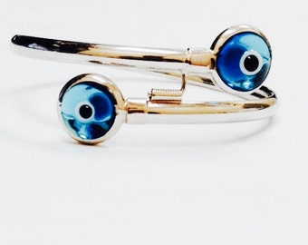 14K White Gold Evil Eye Bracelet - 14K Gold Baby Bangle Bracelet - Handmade Bracelet - Gold Bracelet - Gold Bangle - Baby Bracelet - Jewelry