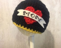 I <3 Mom Boy or Girl Crochet Mother's Day American Traditional Tattoo Beanie Hat Newborn to 3 Year sizes - Photo prop, Shower Gift, New Baby