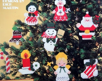 Christmas Ornaments For Plastic Canvas By Dick Martin Vintage Plastic Canvas Leaflet 1983