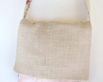 Burlap Upcycled Jeans Messenger Bag