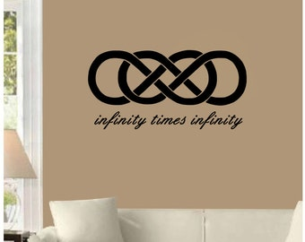 "Infinity Times Infinity, double infinity symbol romantic wedding anniversary wall decal (30"" X 15"")"