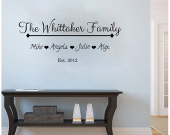 "Personalized Family Names wedding/new baby/anniversary wall decal (36"" X 15"")"