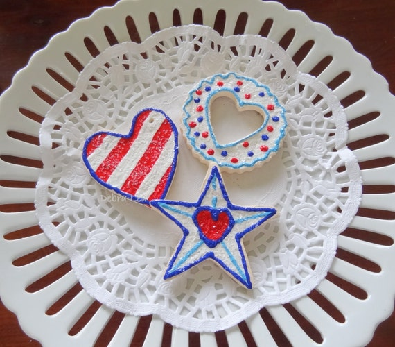 SALE! fake cookie Set of 3 Sugar Cookies Patriotic Americana July 4th Stars and Stripes Red White and Blue America Faux  Heart USA 3