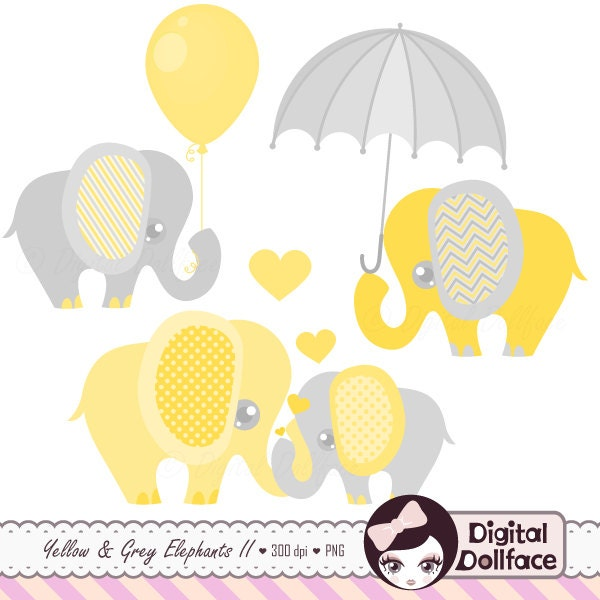 Elephant Baby Shower Clipart Baby and Mommy Elephant with