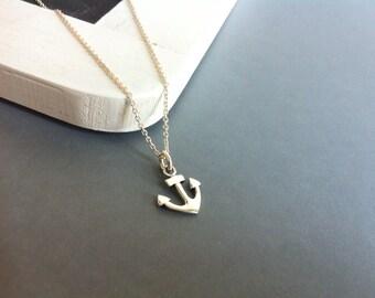 Silver anchor necklace, silver necklace