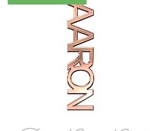 """14k Rose Gold Vertical Name Necklace (0.4mm thick) - """"Aaron"""" design"""