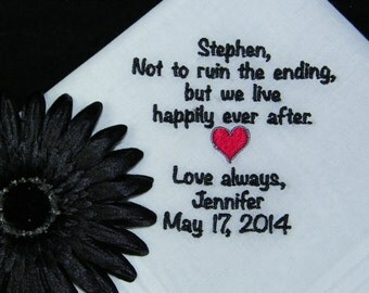 """SPECIAL - Bride Gift to Groom Personalized """"The Ending is Happily Ever After"""" Wedding Handkerchief"""