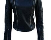 TFA designer leather style Biker Jacket EXCLUSIVE Half price SALE - cropped jacket-studded-spiked
