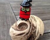Halloween Lampwork Owl Bead