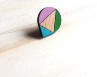 Hand Painted Laser Cut Wood Geometric Droplet Pattern Stud Earrings- Green, Blue and Mauve