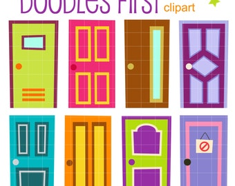 Quirky Doors Digital Clip Art for Scrapbooking Card Making Cupcake Toppers Paper Crafts
