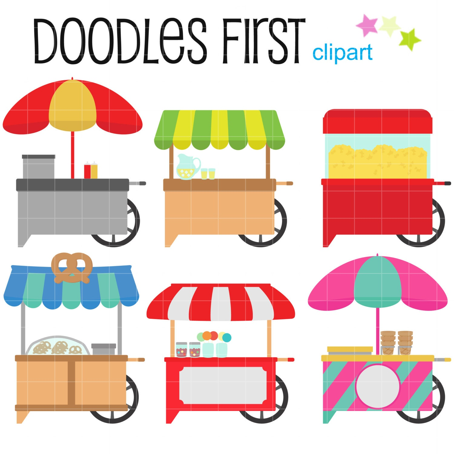 Scrapbook paper cart - Food Cart Without Labels Digital Clip Art For Scrapbooking Card Making Cupcake Toppers Paper Crafts