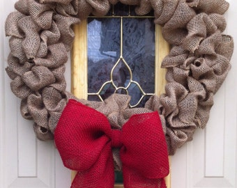 Burlap bubble wreath with red bow