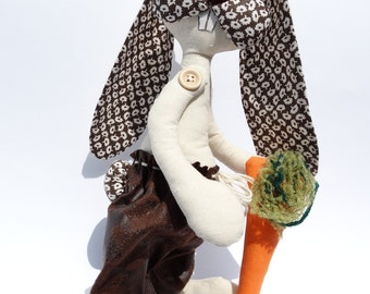 Easter Rabbit, Stuffed bunny doll, Bunny with carrot, Rag doll rabbit, Soft rabbit doll, Easter Decor