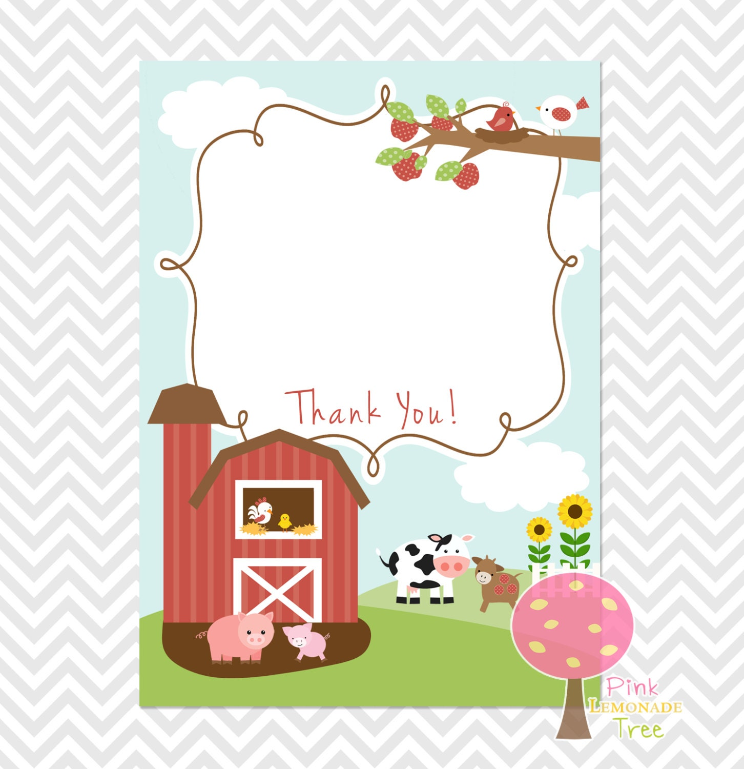 Farm Themed Thank You Card for Baby Shower Birthday Farm