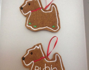 Scottish Terrier Personalized Felt Gingerbread or Angel Ornament