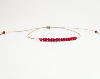 Noirmoutier Crystal Red, beige, Khaki or red cord bracelet