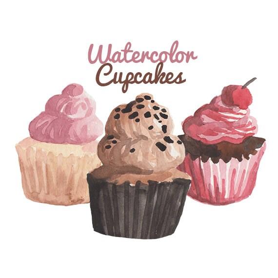 Watercolor Cake Clip Art : Watercolor Cupcake Clipart cake clip art bakery clipart cake