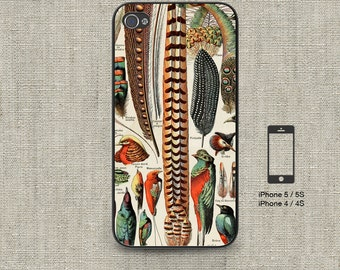 Cell Phone Case Iphone 5 / 5S / 5C 4 / 4S Samsung Galaxy S3 / S4 -Vintage French Feathers Print Design Number 110