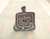 Brooch inspired by the art of Hundertwasser in 925 sterling silver, single piece
