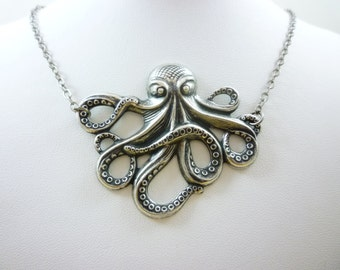 Release the Kraken! Eat the Tako! Iconic Steampunk Octopus Necklace Antique Silver or Bronze Finish.