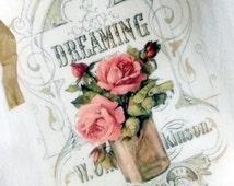 Flour Sack Towel, Mason Jar Flowers Vintage Inspired Tea Towel, Cottage chic Towel