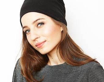 beanie hat/ black/ organic cotton