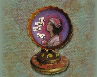 Bottle cap shrine // bottle cap // assemblage // collage // Love shrine // found object // folk art shrine